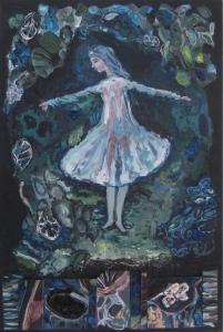 """""""What the Dead Can See'' is among Claire Burke's paintings in the Arlington artist's solo show, """"We Are Made of Dreams and Bones,'' at LynnArts in Lynn."""