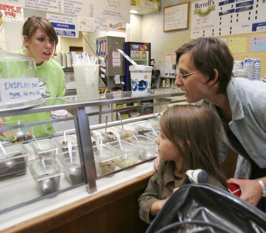 Lora Ovcharova visited the Herrell's Ice Cream store in Cambridge with her mother, Blaga.