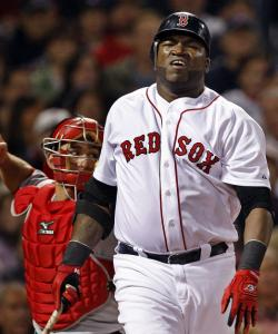 David Ortiz whiffed for one out, then Jason Bay was gunned down at second base.