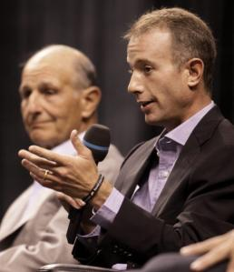 Bruins owner Jeremy Jacobs (left) and principal Charlie Jacobs got down to brass tacks at the Town Meeting.