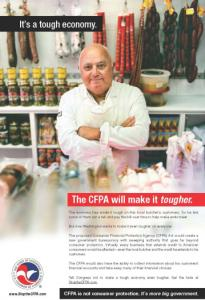 A US Chamber of Commerce advertisement depicting a butcher posing in front of sausage links has drawn the ire of the White House.
