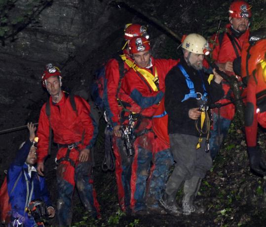After spending 235 days in isolation, Maurizio Montalbini emerged from the Grotta Fredda di Acquasanta cave in central Italy.
