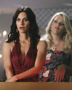 "Courteney Cox (left) is a divorced single mom and Busy Philipps is her hard-partying co-worker in ""Cougar Town.''"