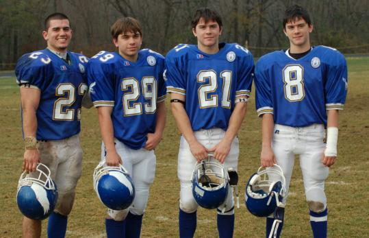 From left, Derek Coppola and his triplet brothers, Jared, Tyler, and Brandon, in 2007. Jared is recovering from a spinal cord injury; Brandon was hurt last fall.