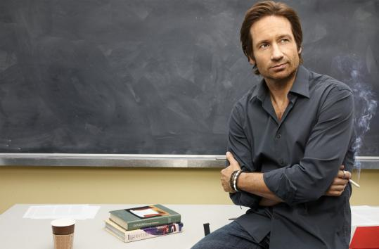 "David Duchovny plays Hank, a struggling novelist who lands a job as a college professor, on ""Californication.''"