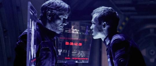 "Dennis Quaid (left) and Cam Gigandet face off in ""Pandorum.''"