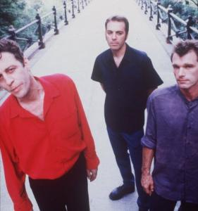 Billy Conway (right) with Morphine bandmates Mark Sandman (left) and Dana Colley in 1998, a year before Sandman's death.