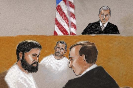 In this artist's rendition, Najibullah Zazi (left) appeared before US Magistrate Judge Craig Shaffer at a bail hearing in Denver.