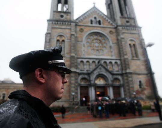 The city deployed 629 police officers to provide security for the funeral of Senator Edward M. Kennedy last month.