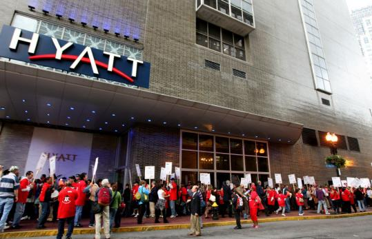 Demonstrators showed up in front of the Hyatt in Boston's Downtown Crossing last week to protest the layoffs of housekeeping personnel.