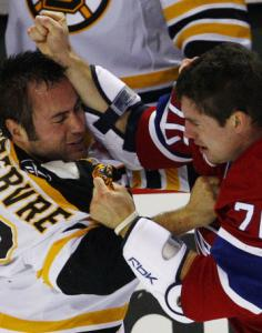 Boston's Guillaume Lefebvre and Montreal's Gregory Stewart mixed it up last night.