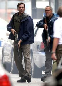 Jon Hamm (left) and Titus Welliver during filming of 'The Town.'