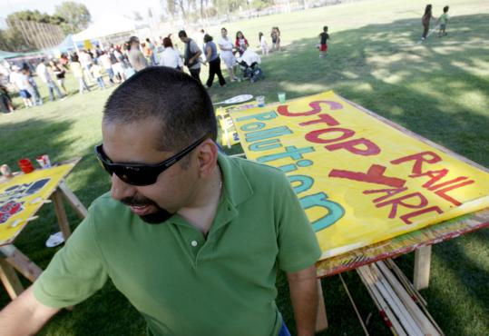 Angelo Logan is executive director of the East Yard Communities for Environmental Justice. The group recruits door to door in eastern Los Angeles County.