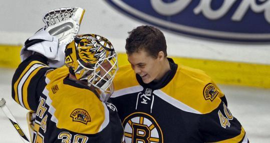 Tim Thomas (left) and Tuukka Rask will be the Bruins' goaltenders from the beginning of the season.
