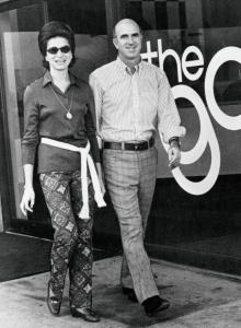 Don and Doris Fisher, in front of the first Gap store in San Francisco. Gap Inc. now has more than 3,000 stores.