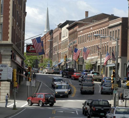 Bookstores, coffee shops, and restaurants are situated among the historic buildings of downtown Brattleboro, Vt.