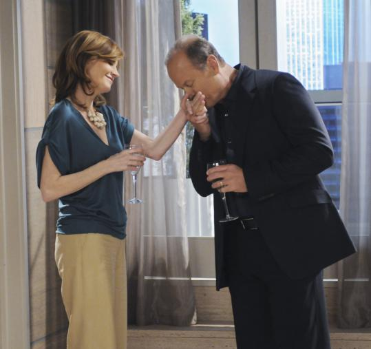 "Above: Kelsey Grammer and Melinda McGraw star as husband and wife in ""Hank.'' Below: Patricia Heaton takes center stage with Neil Flynn and Eden Sher in ""The Middle.''"