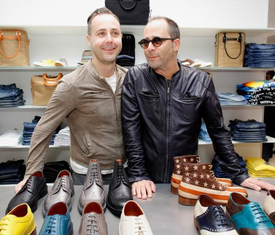 Steven Cox (left) and Daniel Silver of Duckie Brown. The pair will make stops at Saks Fifth Avenue in Boston and at the Tannery in Cambridge today.