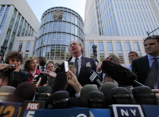 Michael Dowling, lawyer for bomb plot suspect Najibullah Zazi, spoke with reporters yesterday.