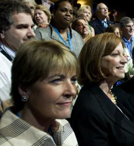 Attorney General Martha Coakley (left) is backed by state Senate President Terese Murray in her bid for the US Senate.