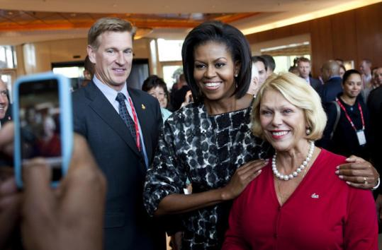 Meeting with well-wishers and Olympic dignitaries in Copenhagen, Michelle Obama pitched Chicago as host of the 2016 Summer Olympics. President Obama arrives tomorrow.