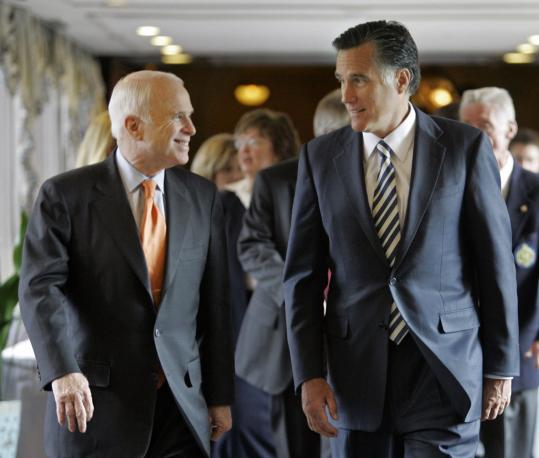 John McCain and Mitt Romney arrived in Denver for an event during McCain's presidential campaign. After leaving the race, the former governor worked hard for his rival.