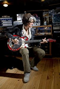 Joe Perry in the Boneyard, the studio in his Duxbury home.