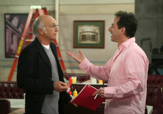 """Larry David (left) and Jerry Seinfeld on """"Curb Your Enthusiasm.'' The entire """"Seinfeld'' cast returns for a spoof on TV show reunions."""