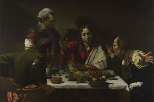 """The Supper at Emmaus'' depicts the resurrected Jesus revealing himself to two of his disciples."