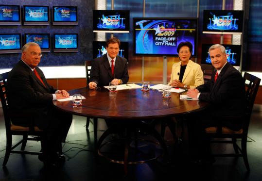 Mayor Thomas M. Menino and Michael F. Flaherty Jr. faced off as WCVB-TV's Ed Harding and Janet Wu asked some questions.