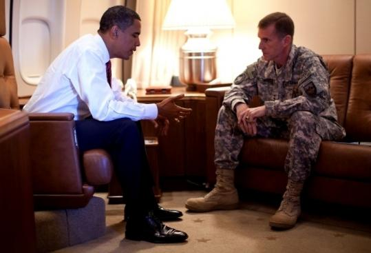 President Obama met with General Stanley McChrystal aboard Air Force One in Copenhagen yesterday.