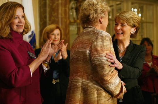 """At an event Wednesday, Attorney General Martha Coakley said being a woman is probably a plus for her in her bid for US Senate. She then joked that she could break into """"I Enjoy Being a Girl.''"""
