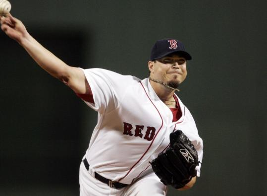 Josh Beckett looked rough in the first two innings, then blanked the Indians for the next three.