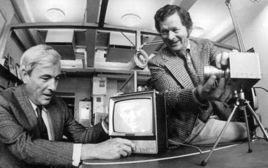 Willard Boyle (left) and George Smith in 1970, with the charge-coupled device that earned them the Nobel Prize yesterday.