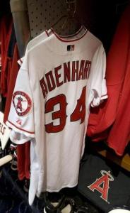 Nick Adenhart's locker remains intact in the Angels clubhouse. He died in April.