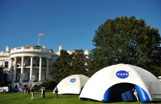 NASA domes were set up yesterday on the South Lawn for last night's star-gazing event with President Obama and students.