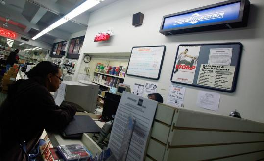 A Ticketmaster ticket booth at J&R Music World in February 2009 in New York City. The Live Nation and Ticketmaster Entertainment merger plans have raised antitrust concerns.