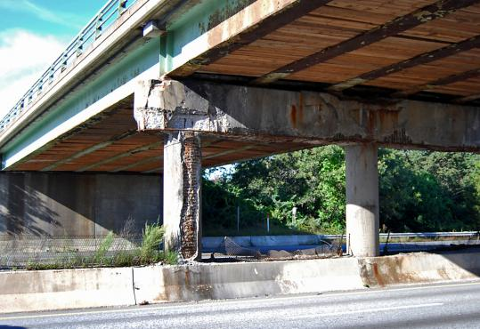 Reader Maria Vickers says she is terrified that a Lowell Connector bridge over Interstate 495 in Chelmsford is in such bad shape. The structure was inspected and put on a list for repairs.