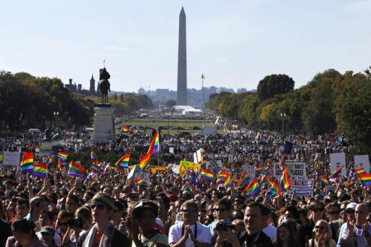 Tens of thousands of gay rights advocates filled the west lawn of the Capitol yesterday during the rally.