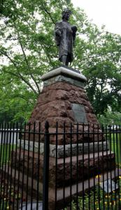 A statue of explorer Christopher Columbus stands in Wooster Square Park in New Haven.