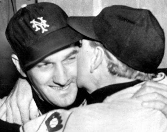"Larry Jansen (left), got a kiss from his manager, Leo Durocher, after Bobby Thomson's ""Shot Heard 'Round the World'' put the Giants in the World Series."