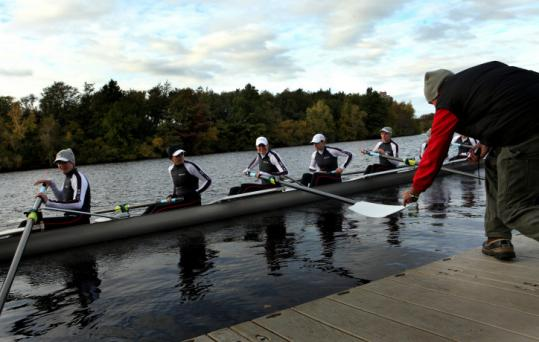 The Great Eight, a women's international all-star boat, hit the Charles River Friday for its only practice session together.
