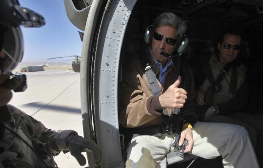 US Senator John F. Kerry of Massachusetts departed Kandahar Airbase during a visit to southern Afghanistan.
