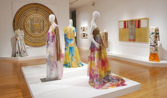 "PHOTOS BY JOHANNA WARRICK The ""Goddesses'' exhibit juxtaposes Mary McFadden's fashion creations with textiles and jewelry from her art collection."
