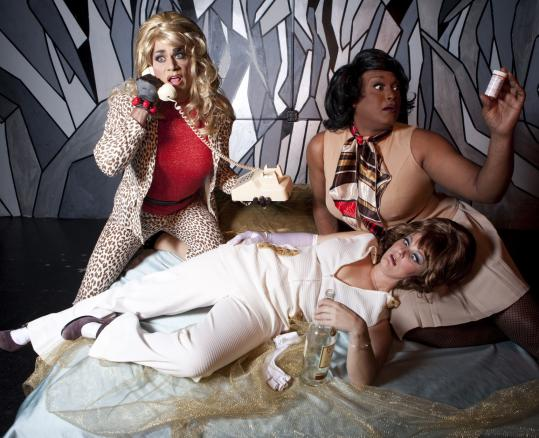 """Penny Champayne, Afrodite, and Bananas Foster in the Gold Dust Orphans' production of """"Valet of the Dolls.''"""
