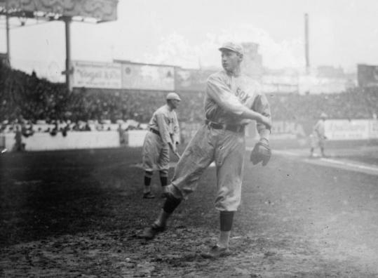 Boston Red Sox pitcher Smoky Joe Wood warmed up in 1912. Wood pitched relief in the eighth game of the Series that year.