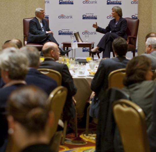 Harvard University president Drew Faust spoke yesterday at a Greater Boston Chamber of Commerce breakfast.
