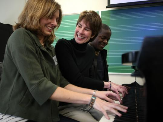 From left, Katie Wyatt, Lorrie Heagy, and Stanford Thompson enjoyed a break at the New England Conservatory.