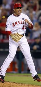 Angels closer Brian Fuentes is pumped after getting Nick Swisher to pop out to end Game 5 of the ALCS.