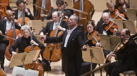 Guest conductor Rafael Frühbeck de Burgos leads the Boston Symphony Orchestra Thursday night at Symphony Hall.